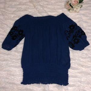 Contour blue blouse off the shoulder XS